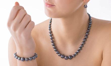 129,99 zł zamiast 999 zł: 3-częściowy zestaw biżuterii z opalizujących pereł stopniowanych oraz srebra 925