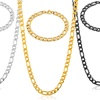 Men's Figaro Necklace and Bracelet Chain Set in Stainless Steel