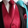 Men's Solid Vest, Necktie, and Pocket Square Set