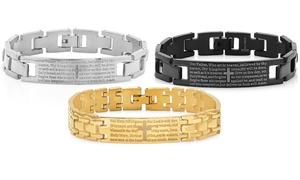 Men's English or Spanish Prayer Bracelets in Stainless Steel
