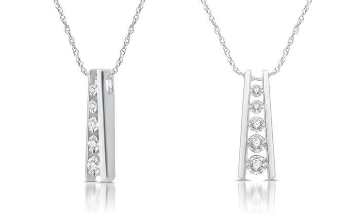 16 cttw 5 stone diamond ladder pendant in sterling silver groupon 16 cttw 5 stone diamond ladder pendant in sterling silver aloadofball Gallery