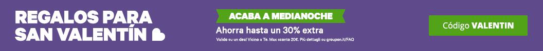 Usa el código: VALENTIN y obtén 30% extra en ofertas locales. Acaba a medianoche. Máx dto 20€. Puede haber exclusiones.