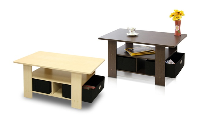 Furinno Coffee Table with Storage Bins - Furinno Storage Coffee Table Groupon Goods