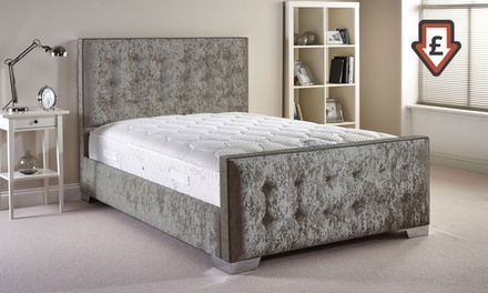 Handcrafted fabric bedframe groupon goods for Bed frame and mattress deals