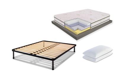 Set letto con materasso in memory Deluxe, rete a doghe e uno o 2 cuscini in memory, disponibili in varie misure