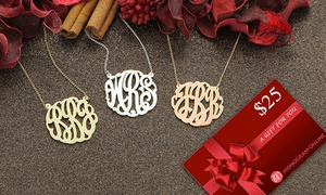 Monogram Online: Monogram Necklace With a $25 Gift Card from Monogram Online (Up to 73% Off). Three Options Available.