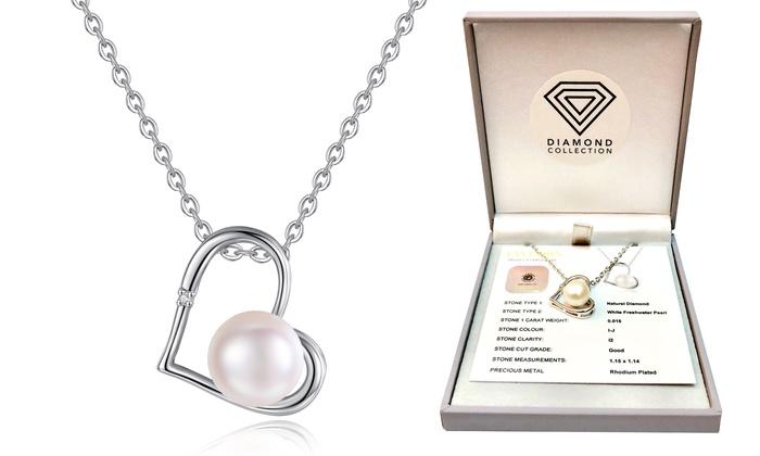 Groupon Goods Global GmbH: Collana con perla d'acqua dolce e diamante