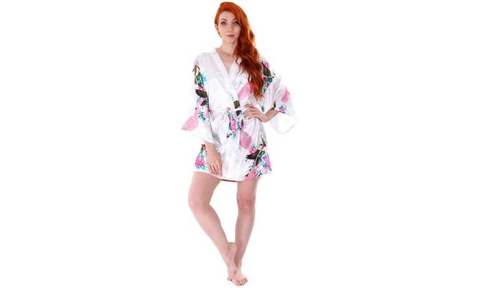trend matters women s satin bath robe groupon