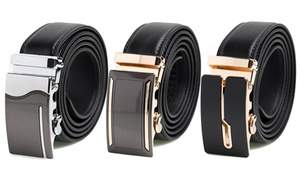 Men's Genuine Leather Automatic Track Sliding Dress Belt