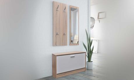 Mueble de entrada con zapatero, espejo y perchero