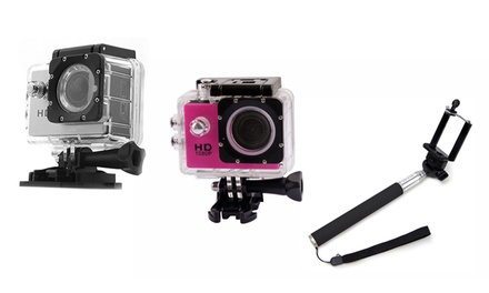 AdventurePro HD 1080p 12MP Water-Resistant Action Camera With Selfie Stick