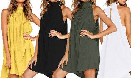 Women's High Neck Relaxed Mini Dress: One ($19) or Two ($29)