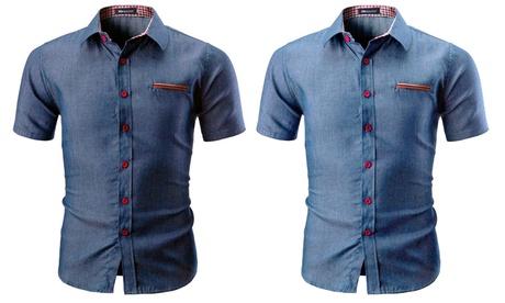 Chemise Blu Apparel manches courtes en jean pour homme collection Marshall