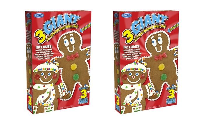2 Pack Of Gingerbread Men Decorating Kits With 3 Giant Cookies Each