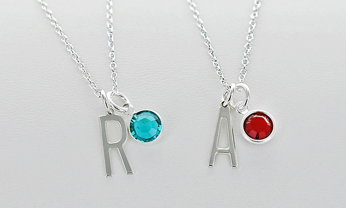 Monogram Online: Personalized Pendant with Swarovski Birthstone, Silver Link Chain, or Both at Monogram Online (Up to 87% Off)