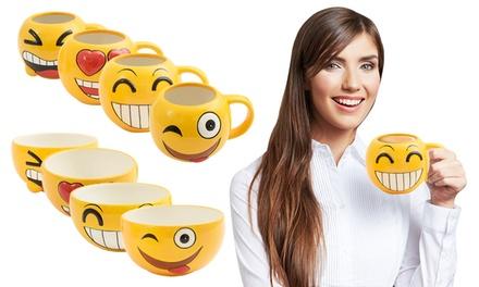 Two, Four or Six Pieces of Emoji Tableware: Mug, Bowl or Both