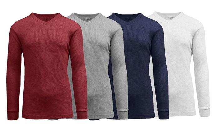 Galaxy By Harvic Men's V-Neck Waffle-Knit Thermal Shirts