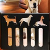Adjustable Wooden Pet Gate with Cutout Dog Designs