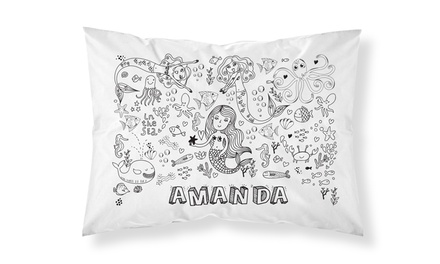 One or Two Personalised Doodle Pillowcases with Washable Markers from Personalised Gifts Market