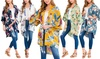 Riah Fashion Women's Bold Floral Tropical Cardigan Kimono
