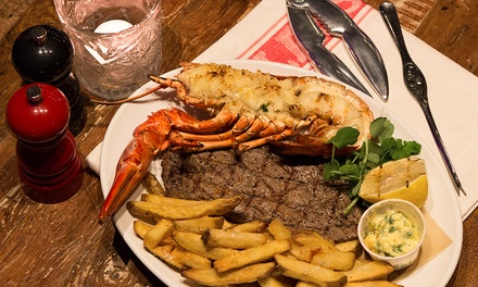 Steak and Lobster Meal with a Glass of Prosecco for Two at 28 West Bar & Grill