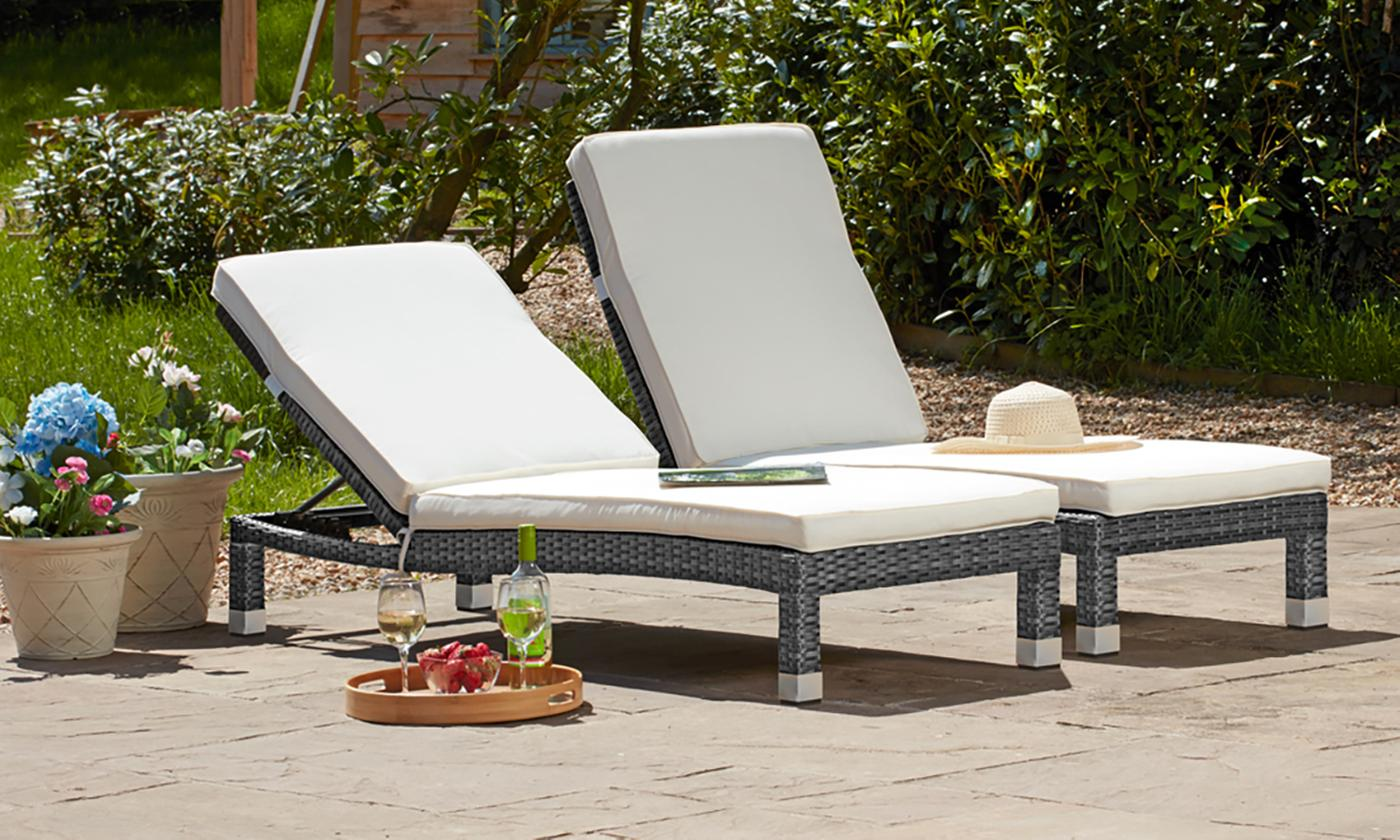 One or Two Palermo Rattan-Effect Loungers with Optional Cover (£99.98)