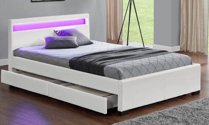 lit led avec 4 tiroirs et matelas en option groupon. Black Bedroom Furniture Sets. Home Design Ideas