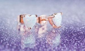 Fire Opal Heart Stud Earrings in 18K Rose Gold Plating by Peermont