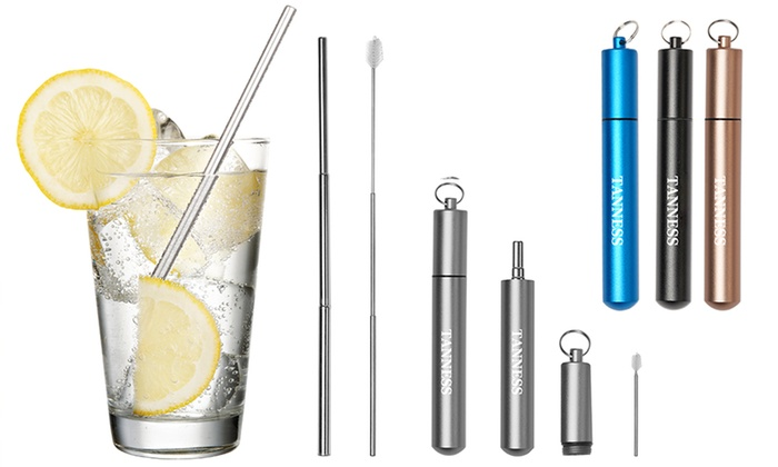 One, Two or Four Eco-Friendly Collapsible Straw Sets