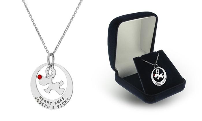 SilvexCraft Design: Custom Engraved Reindeer in Ring Pendants with Swarovski Crystal