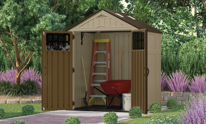 Outdoor storage sheds groupon goods for Best deals on garden sheds