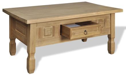 Jusqu 39 9 table basse en pin avec tiroir groupon for Groupon table basse