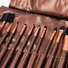 Cosmetic Brush Set with Vegan-Leather Travel Pouch (13-Piece)