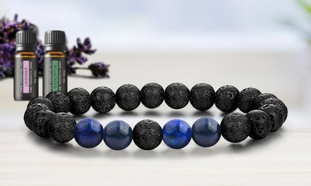 Lava Stone Natural Healing Multi-Stone Bracelet with Optional Essential Oils