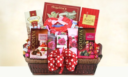 """California Delicious """"Be Mine"""" Spa and Chocolate Valentines Basket"""
