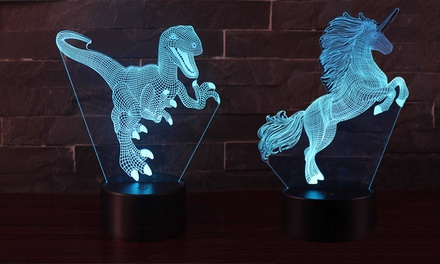 ColourChanging 3D Unicorn or Dinosaur Nightlight with Remote Control: One $19 or Two $29.95