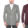 Verno Men's Wool-Blend Windowpane Plaid Double-Breasted Blazers