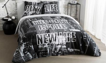 parure housse de couette avec taies d oreillers power new york groupon shopping. Black Bedroom Furniture Sets. Home Design Ideas