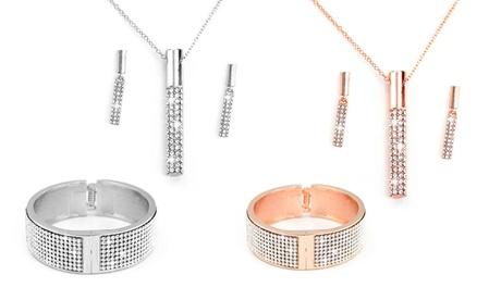 1 o 2 sets de joyería con cristales de Swarovski®: colgante, brazalete y pendientes a juego