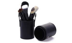 Professional Cosmetic Brush Set with Standing Leather Case (12-Piece)