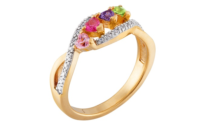 Limogès Jewelry: $26 for a Two-Tone Heart Family Birthstone Ring from Limoges Jewelry ($59.99 Value)