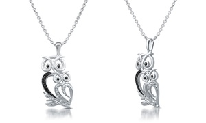 Diamond Accent Owl Shaped Pendant in Sterling Silver by DeCarat