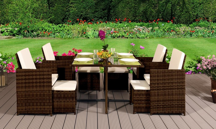 9-, 11- or 13-Piece High Back Rattan-Effect Cube Dining Set with Optional Cover