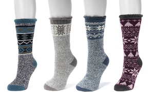 MUK LUKS Women's Patterned Heat Retainer Socks