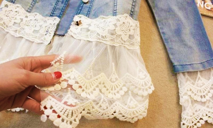 5c760ee5809a3 Blouson femme jean dentelle perles   Groupon Shopping