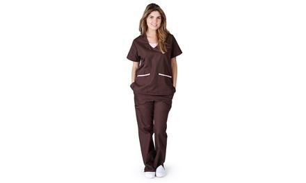Women's Contrasting Jersey Scrub Set (2-Piece) (Size M)