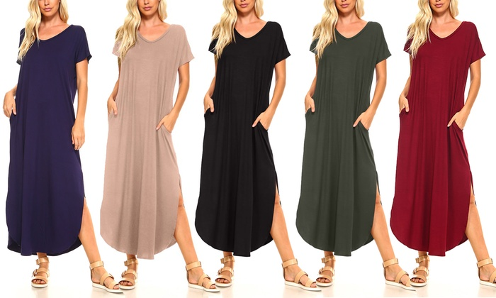 e98d6081633 Isaac Liev Women's Flowy Maxi Dress With Pockets and Side Slits