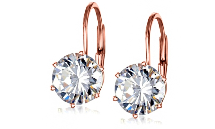 4 00 Cttw Swarovski Crystal Leverback Earrings In 18k Rose Gold Plating By Mina Bloom