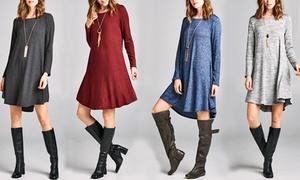 Long Sleeve Women's Shift Dress
