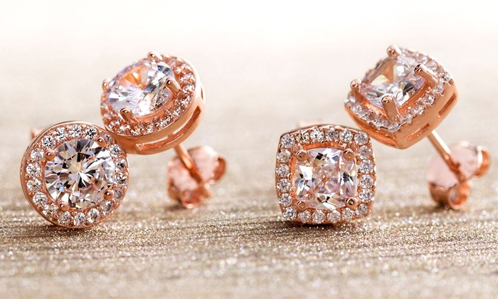 5d032fd37 Lesa Michele Rose Gold Plated Halo Studs with Swarovski Elements